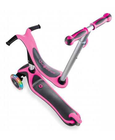 VÝPREDAJ - Globber Kolobežka Evo 4-in-1 Plus Light, Neon pink